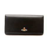 Vivienne Westwood 雙色羊皮彩色塘瓷Orb系列黑色發財包長夾