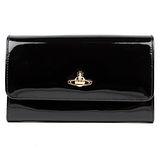 Vivienne Westwood 永恆經典漆皮龐克黑色有蓋發財包長夾