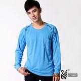 【遊遍天下】MIT男款運動休閒吸濕排汗機能圓領長衫L038藍色