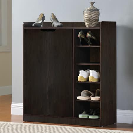 【Yomei】DIY單排空間雙門五層鞋櫃/鞋架(胡桃木)