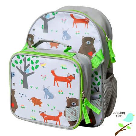 美國 Jaq Jaq Bird 小朋友二合一包包組合-書包+午餐袋(小叢林)