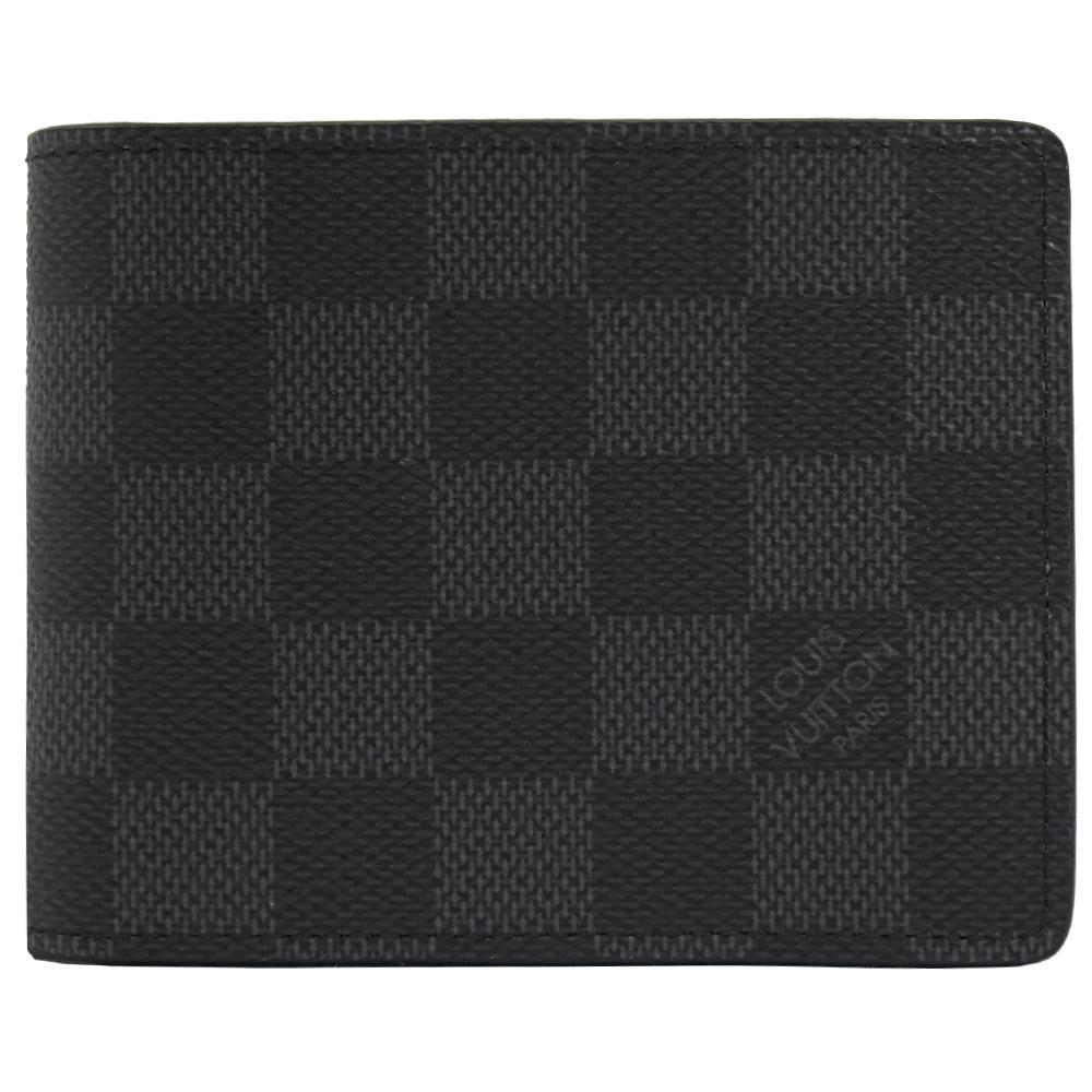 Louis Vuitton LV N63261 黑棋盤格紋多卡雙折短夾_