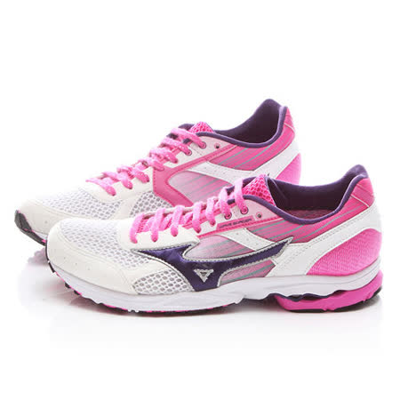 MIZUNO女款 WAVE SPACER DYNA 2 超輕量路跑鞋J1GB157661-白粉