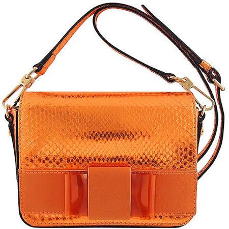 BURBERRY 艷陽橘色真皮蛇紋蝴蝶結斜背包