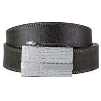 SINA COVA 老船長灰黑紋亮白銀自動扣牛皮紳士皮帶SC11506-1-灰黑色