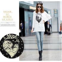 【韓系女衫】寬鬆版型彈性綿料 街頭個性女性風情 百搭蝙蝠袖長袖T恤-黑/白