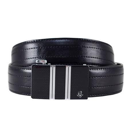 SINA COVA 老船長雙直紋黑格自動扣牛皮紳士皮帶SC11502-1-黑色