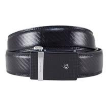 SINA COVA 老船長直條銀黑格編織紋自動扣牛皮紳士皮帶SC1150-1-黑色