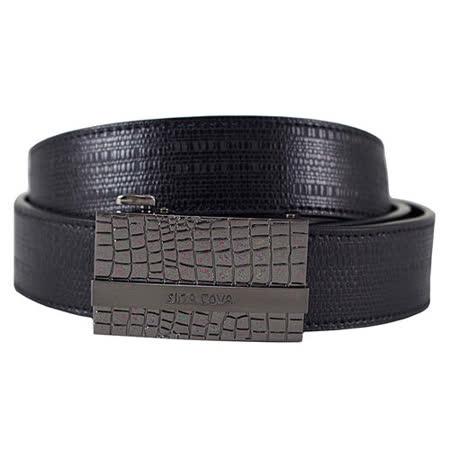 SINA COVA 老船長不規則塊紋自動扣牛皮紳士皮帶SC11506-3-黑色