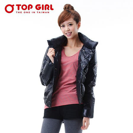 【TOP GIRL】立領雙排釦羽絨外套( 神秘黑)