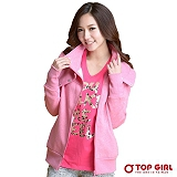 【TOP GIRL】大立領鈕釦俏皮感針織外套 (輕粉紅)