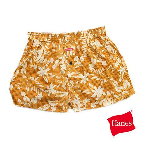 【美國HANES】明亮南洋風印花開釦平口褲-男