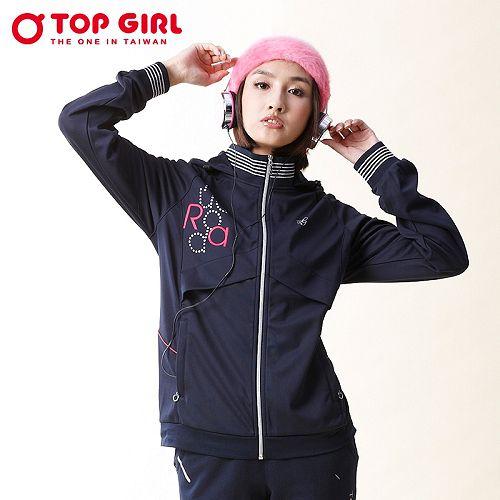 ~TOP GIRL~連帽POLY針織外套^(深海藍^)