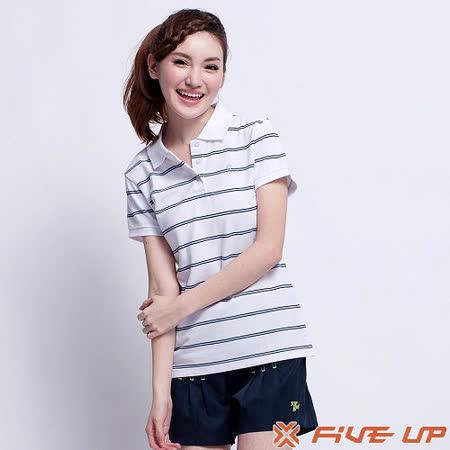 【FIVE UP】氣質女孩條紋POLO衫-女(經典白)