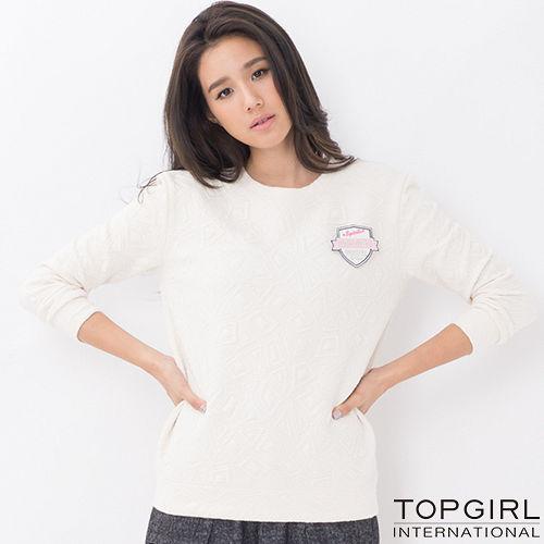 ~TOP GIRL~標語單色圓領T ~女^(米白色^)