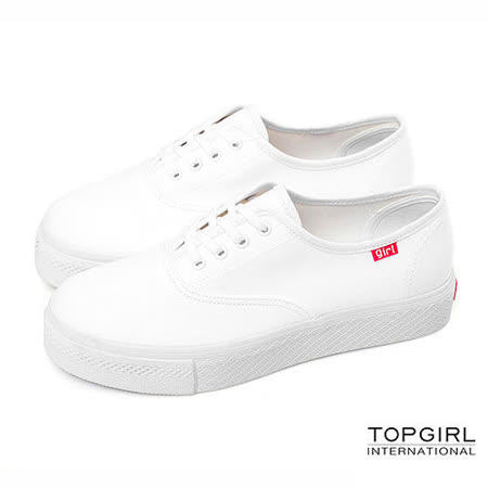 【TOP GIRL】繽紛輕柔厚底帆布鞋-經典白