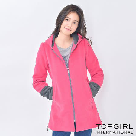 【TOP GIRL】連帽撞色長版外套 (俏桃紅)