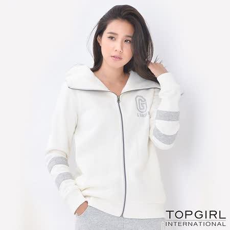 【TOP GIRL】撞色休閒連帽外套 (米白色)