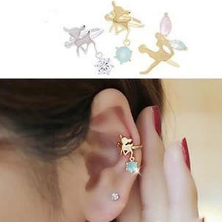 【PS Mall】U型水鑽小鹿斑比天使精靈夾式耳環 單邊 (G800)