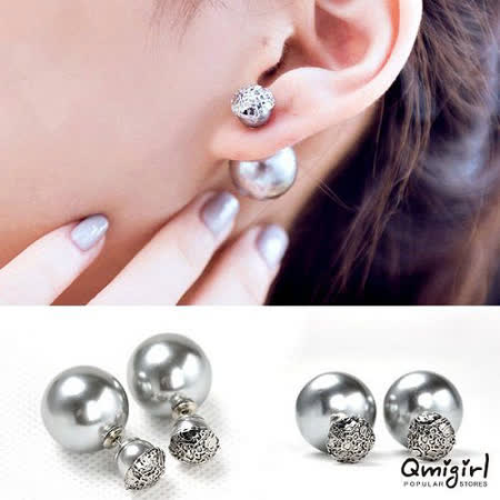【PS Mall】銀灰色珍珠蕾絲雙面大小珍珠耳環 (G1037)