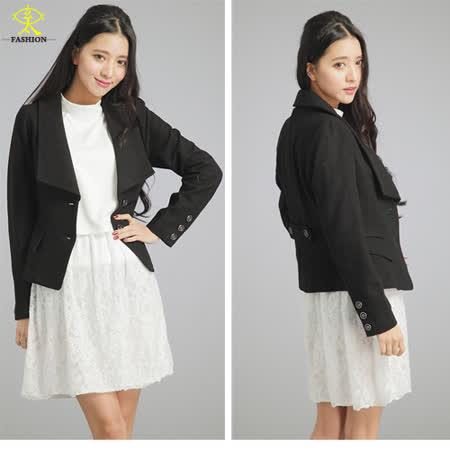 玄太-簡約雙排釦毛料外套(黑/灰)
