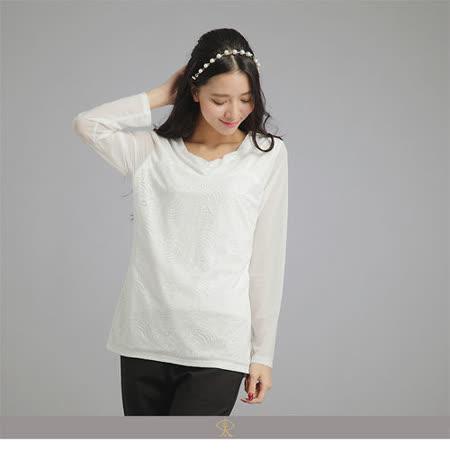 玄太-素雅蕾絲拼接彈性接袖上衣(白)