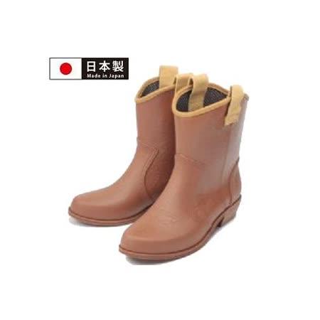 【Charming】日本製 時尚造型【個性馬靴式雨鞋】-淺咖啡色-800