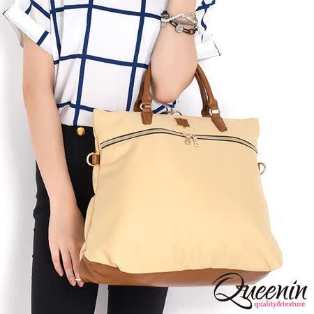 DF Queenin日韓 - 日本熱銷款百搭大空間3用式後背包-米黃色