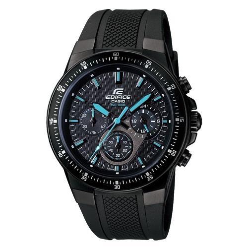 CASIO EDIFICE碳纖魅力勁速三眼賽車錶 ^(膠帶藍指針^)