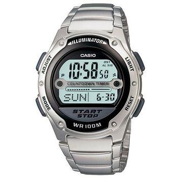 CASIO 戰士運動電子錶 (鋼帶˙黑框)