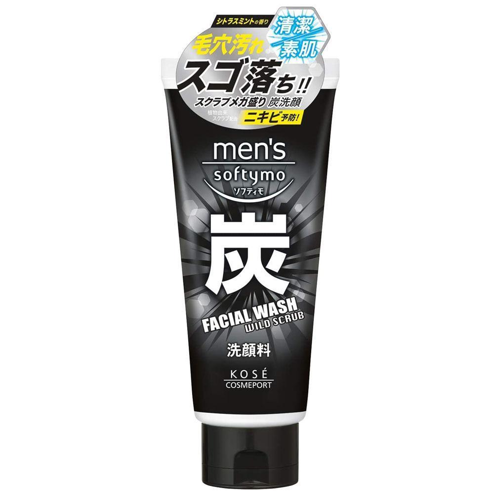 日本KOSE Softymo男用酷涼去角質炭洗面乳130g