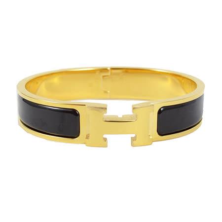 HERMES 新款時尚配件CLIC CRACK 時尚扣式手環.金/黑