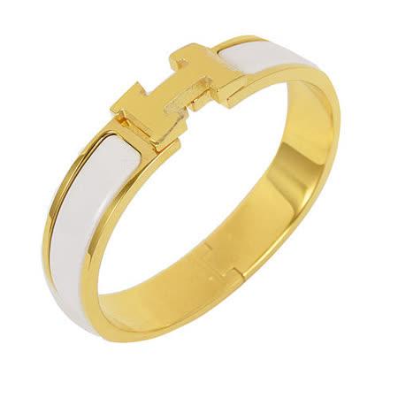 HERMES 新款時尚配件CLIC CRACK 時尚扣式手環.金/白
