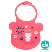 Creative Baby 可收納式攜帶防水無毒矽膠學習圍兜-乖巧小兔(Silicone Bids)