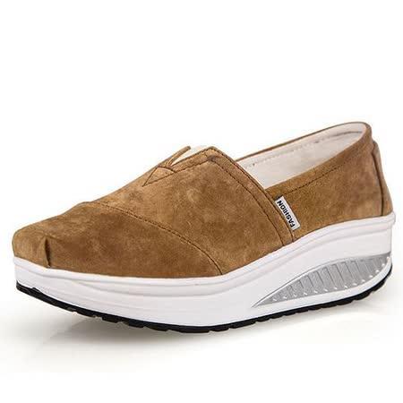 【Maya easy】增高搖擺鞋 真皮軟豬皮 休閒鞋 套腳鞋 舒適走路鞋(棕色)
