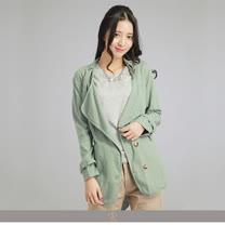 玄太-休閒舒適翻領綁結外套(綠)