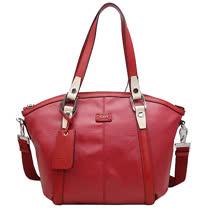 TOD'S New G-Bag特殊光面帆布手提/斜背船型包(紅)