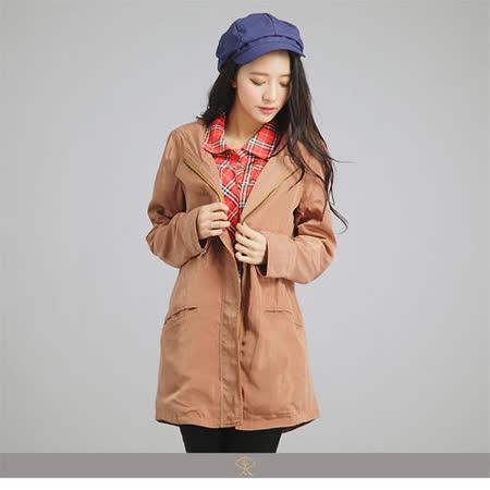 玄太-輕感連身帽抽繩修身大衣外套(褐)