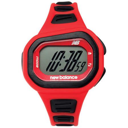 New Balance 500系列 炫彩運動計時電子錶-紅黑/43mmx35mm