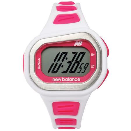 New Balance 500系列 炫彩運動計時電子錶-粉紅x白/43mmx35mm