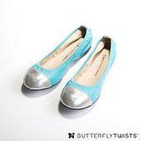 BUTTERFLY TWISTS -KATE 可折疊扭轉芭蕾舞鞋-湖水藍/銀色