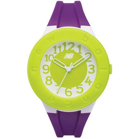 New Balance 503系列 炫彩撞色數字秒針矽膠休閒造型錶-綠/33mm