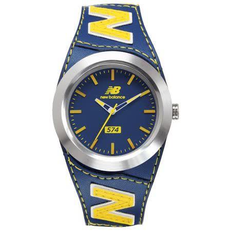 【好物分享】gohappy 線上快樂購New Balance 574系列 NB LOGO皮革時尚腕錶-藍黃/43mm有效嗎台南 遠 百 美食