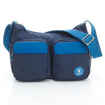 【金安德森】運動風MIX英倫系 多功能雙袋式斜側包-海洋藍