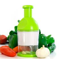 PUSH!廚房用品 進口優質白鋼快速壓蒜泥器搗蒜器切菜器綠色