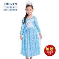 休閒小洋裝-冰雪奇緣Elsa 蕾絲罩紗裙(薄長袖)