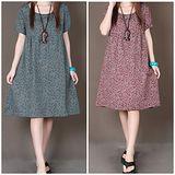【MIDORI╭。綠】圓領小碎花寬鬆短袖連衣裙(FD00242)