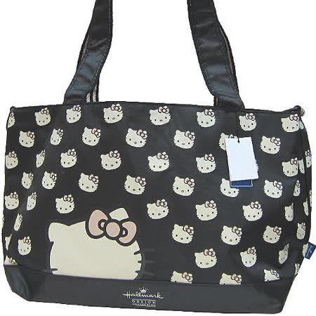 【波克貓哈日網】Hello kitty 凱蒂貓◇ Hallmark合作◇《黑色媽媽包》收納束口袋 / 防水墊