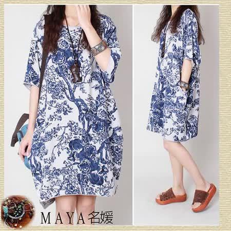 【Maya 名媛】(M~2XL)春秋棉麻料白底藍色紋路國畫風格五分袖連衣裙