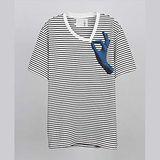 【摩達客】韓國進口EXO合作設計品牌DBSW Don't Drag 別拉橫紋短T短袖T恤時尚潮T
